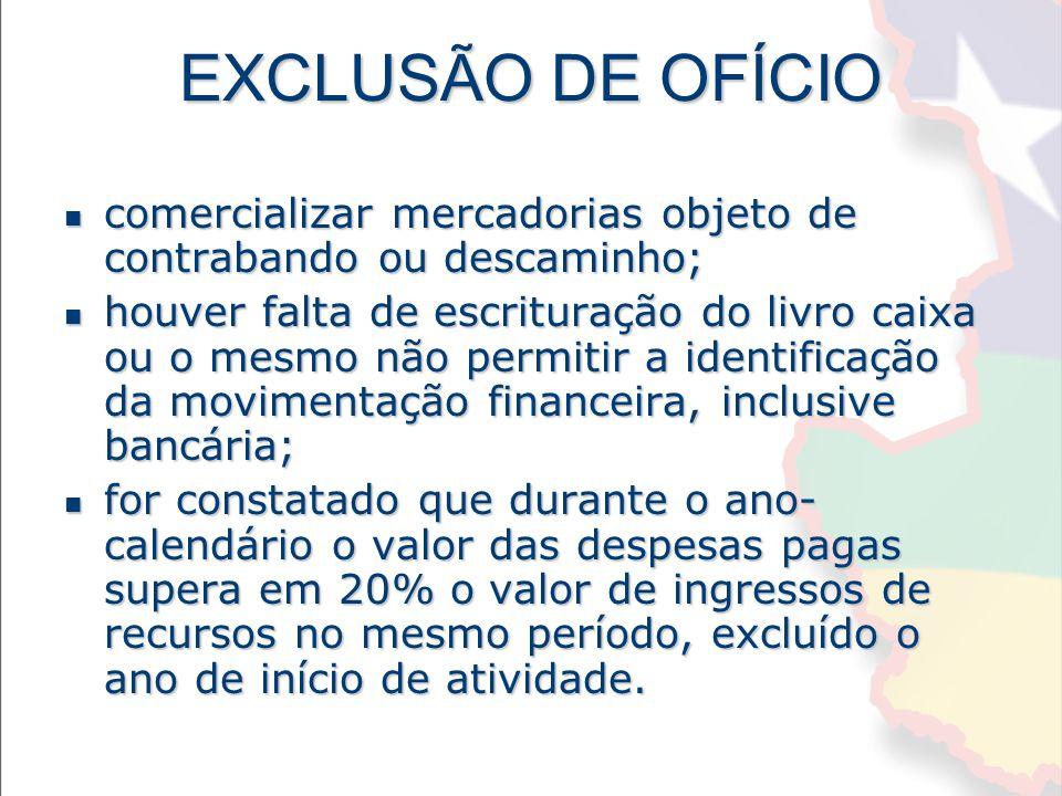 EXCLUSÃO DE OFÍCIO comercializar mercadorias objeto de contrabando ou descaminho;