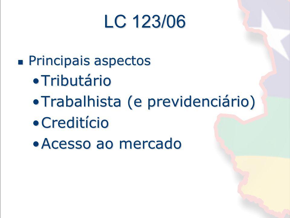 LC 123/06 Tributário Trabalhista (e previdenciário) Creditício