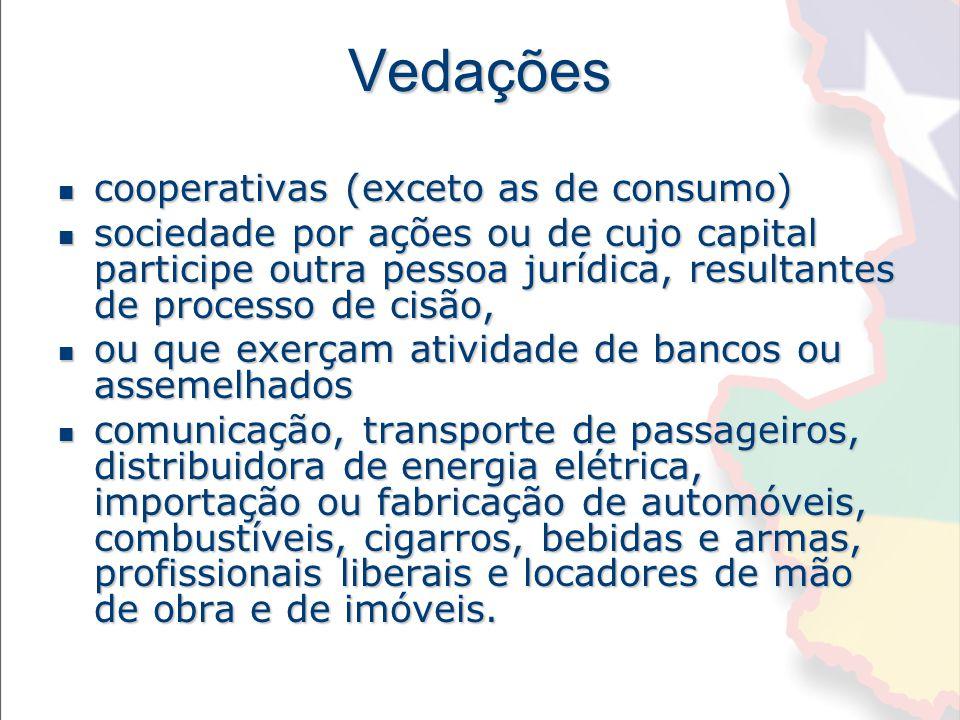 Vedações cooperativas (exceto as de consumo)