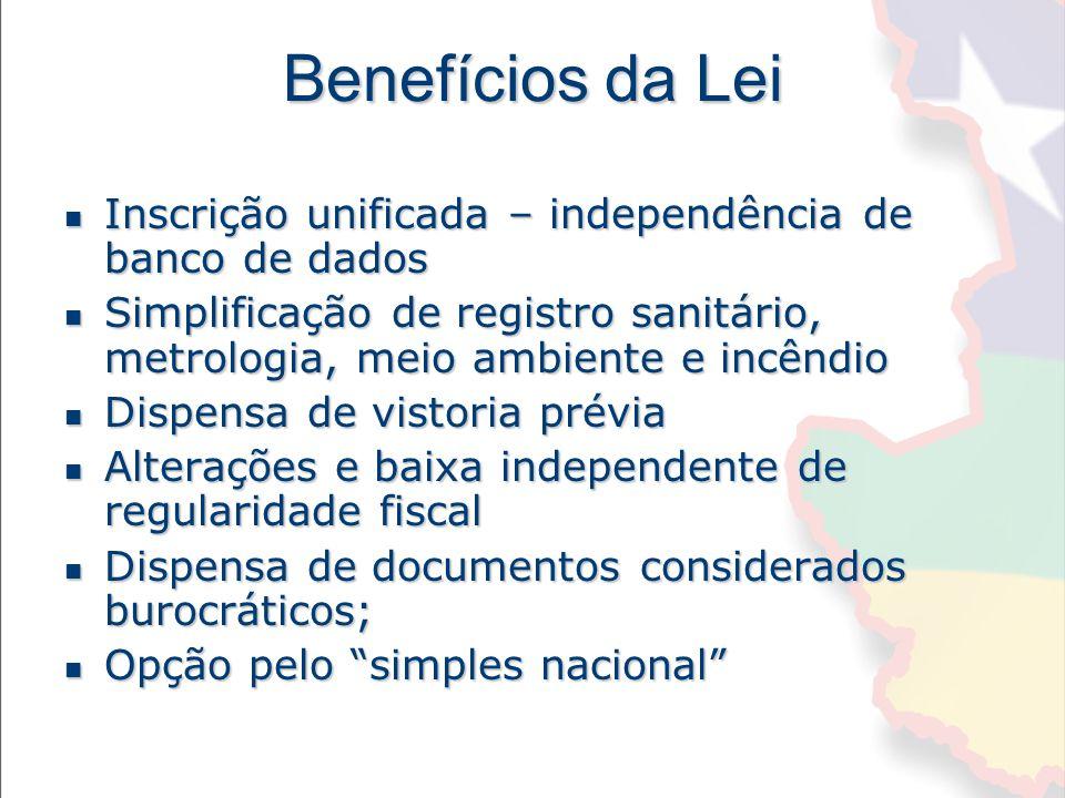 Benefícios da Lei Inscrição unificada – independência de banco de dados. Simplificação de registro sanitário, metrologia, meio ambiente e incêndio.