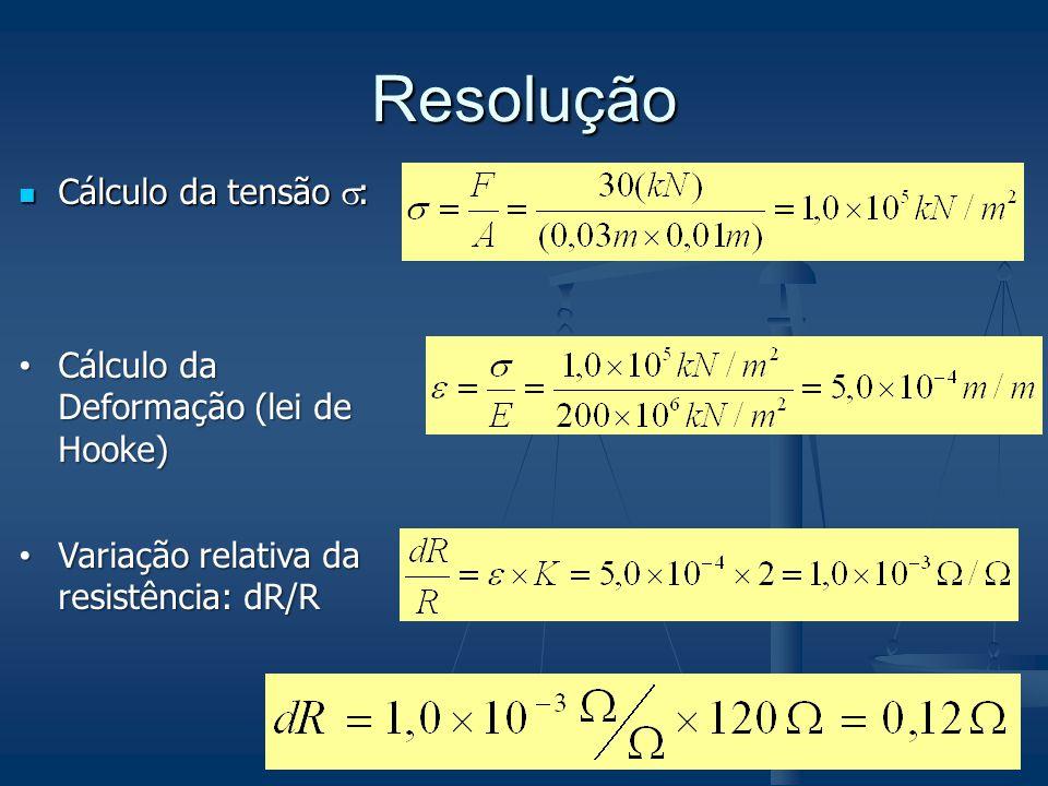 Resolução Cálculo da tensão : Cálculo da Deformação (lei de Hooke)