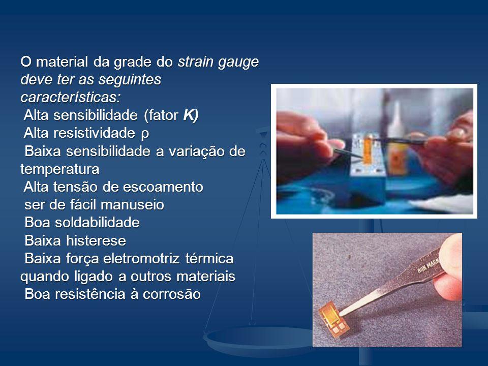 O material da grade do strain gauge deve ter as seguintes características: