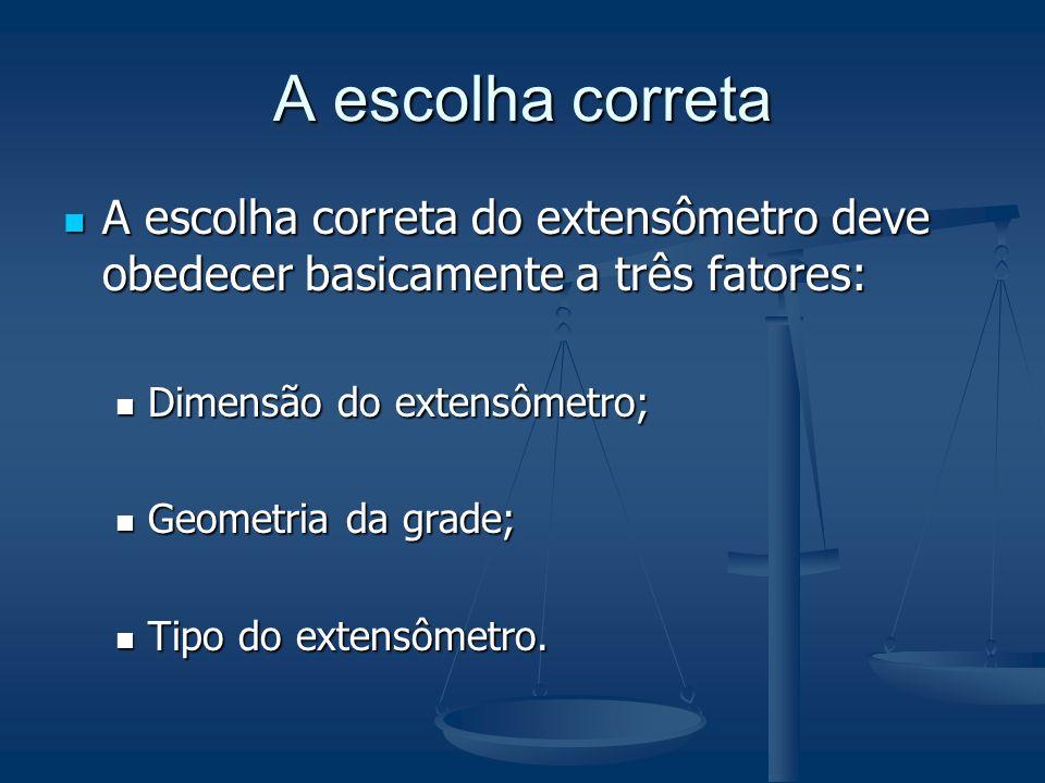 A escolha correta A escolha correta do extensômetro deve obedecer basicamente a três fatores: Dimensão do extensômetro;