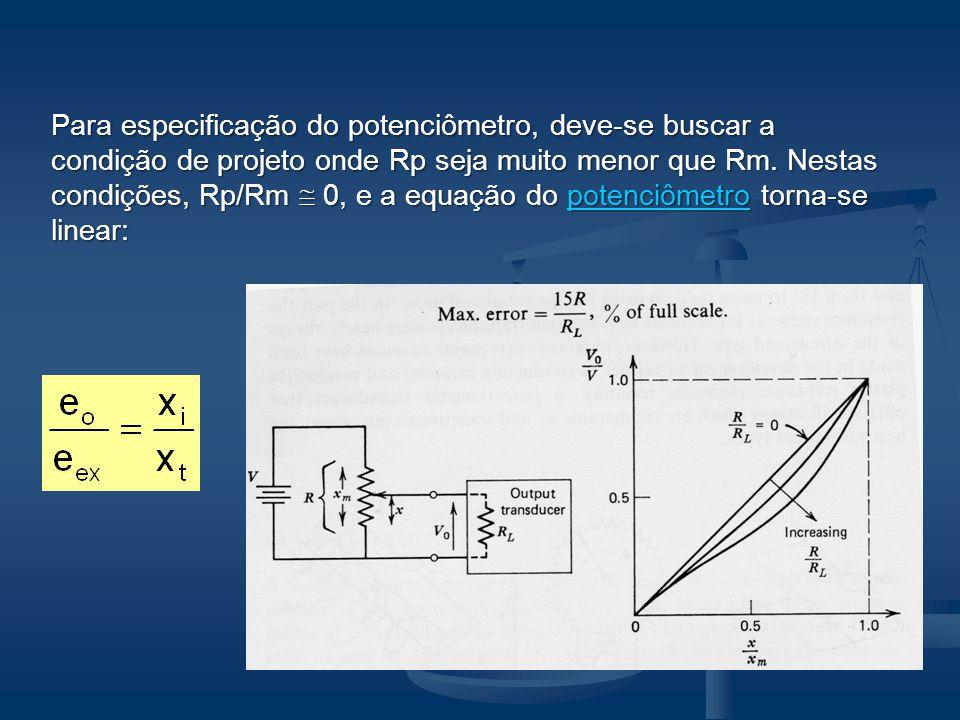 Para especificação do potenciômetro, deve-se buscar a condição de projeto onde Rp seja muito menor que Rm.