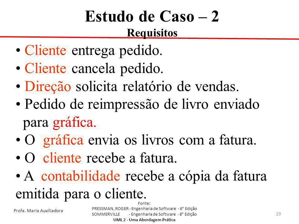 Estudo de Caso – 2 Cliente entrega pedido. Cliente cancela pedido.