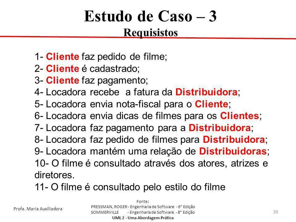 Estudo de Caso – 3 Requisistos 1- Cliente faz pedido de filme;