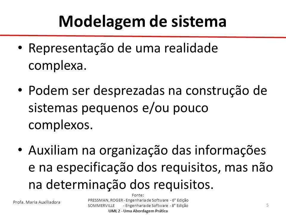 Modelagem de sistema Representação de uma realidade complexa.
