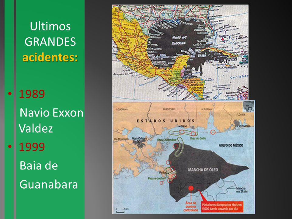 Ultimos GRANDES acidentes: 1989 Navio Exxon Valdez 1999 Baia de Guanabara