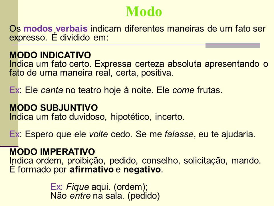Modo Os modos verbais indicam diferentes maneiras de um fato ser expresso. É dividido em: MODO INDICATIVO.