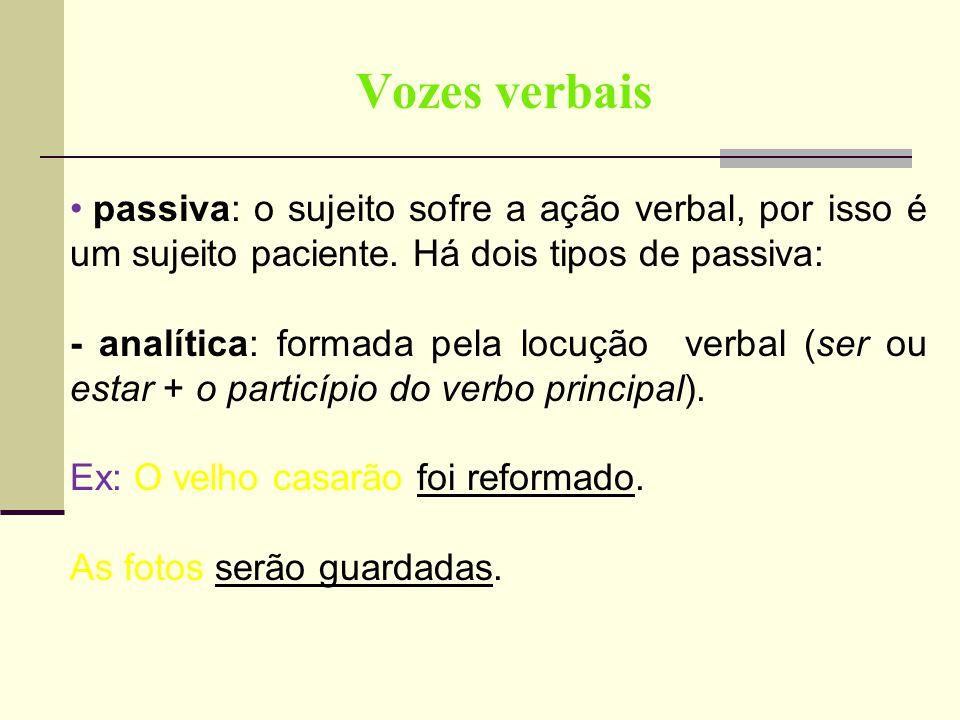 Vozes verbais passiva: o sujeito sofre a ação verbal, por isso é um sujeito paciente. Há dois tipos de passiva:
