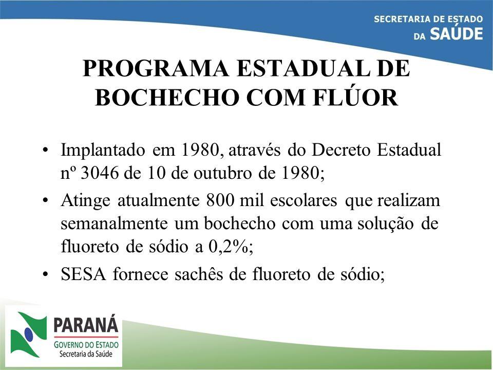 PROGRAMA ESTADUAL DE BOCHECHO COM FLÚOR