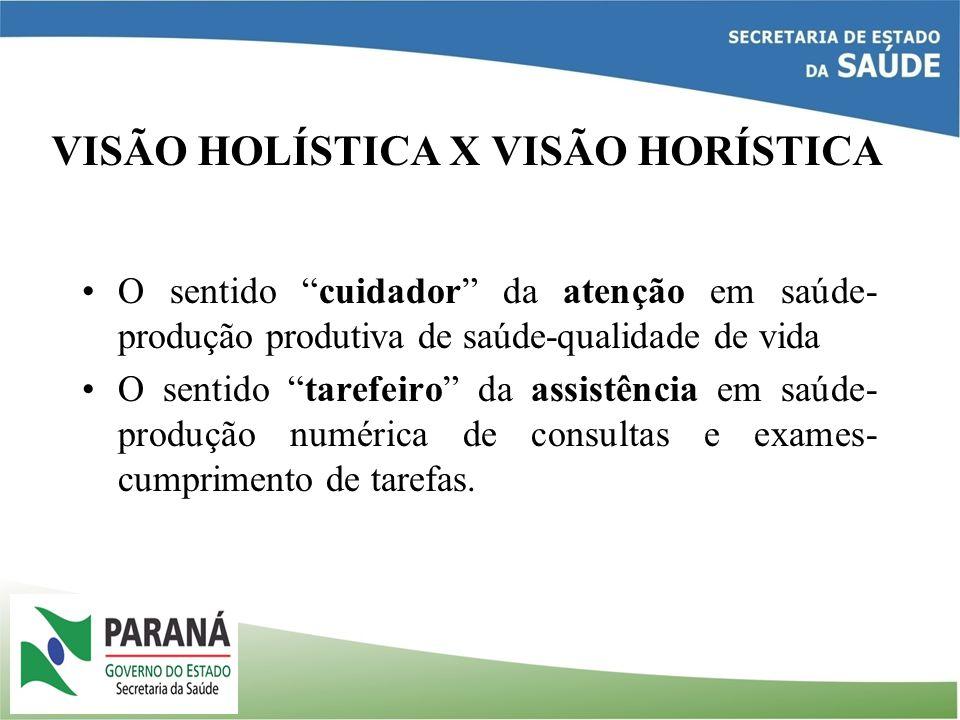 VISÃO HOLÍSTICA X VISÃO HORÍSTICA