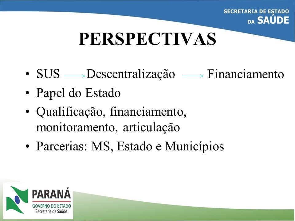 PERSPECTIVAS SUS Descentralização Financiamento Papel do Estado