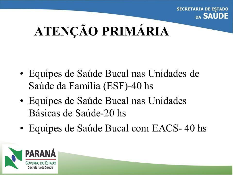 ATENÇÃO PRIMÁRIA Equipes de Saúde Bucal nas Unidades de Saúde da Família (ESF)-40 hs. Equipes de Saúde Bucal nas Unidades Básicas de Saúde-20 hs.