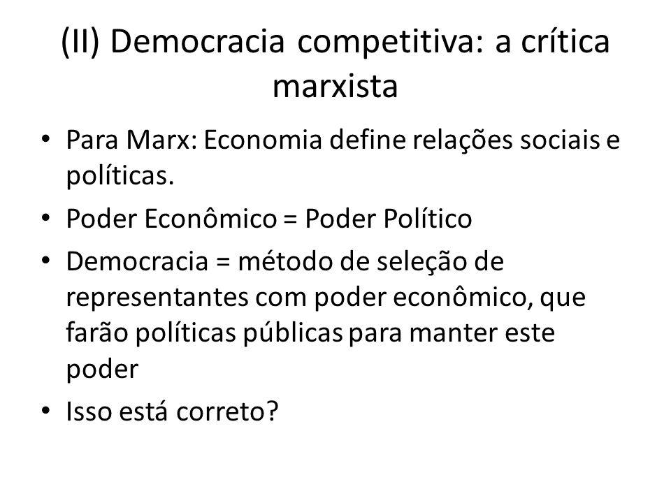(II) Democracia competitiva: a crítica marxista