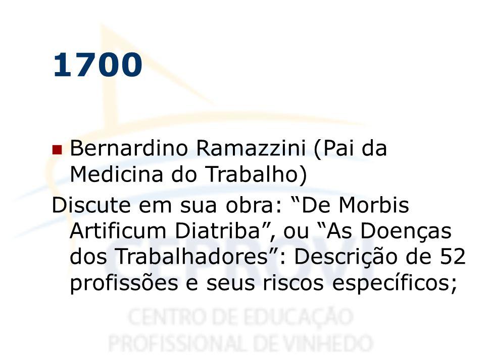 1700 Bernardino Ramazzini (Pai da Medicina do Trabalho)