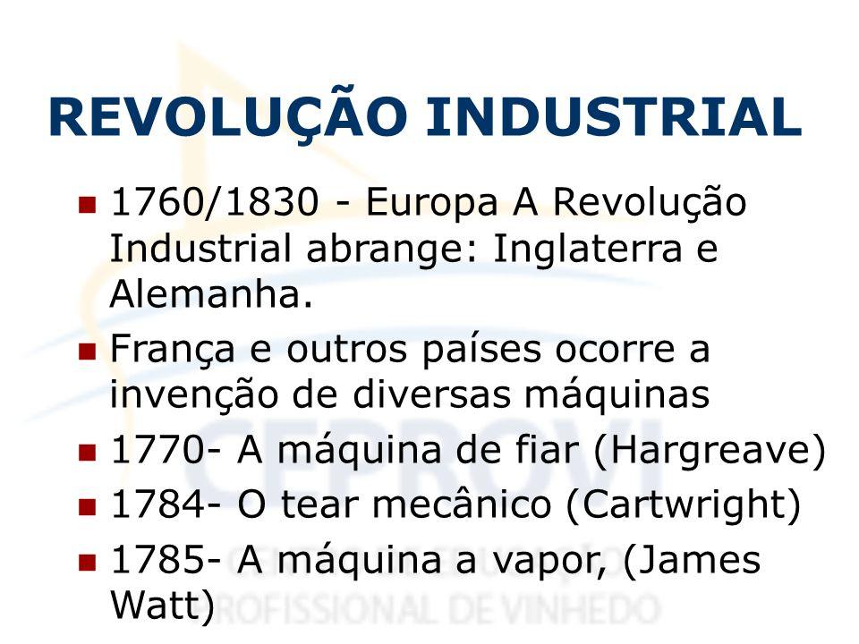 REVOLUÇÃO INDUSTRIAL 1760/1830 - Europa A Revolução Industrial abrange: Inglaterra e Alemanha.