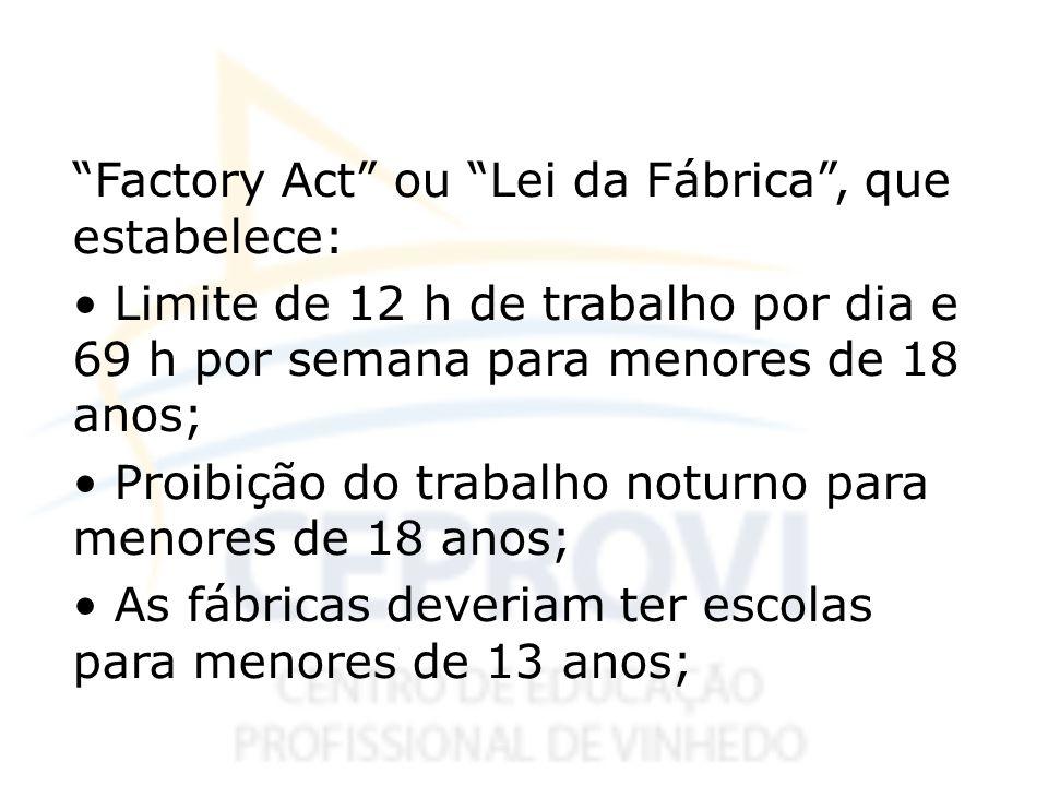 Factory Act ou Lei da Fábrica , que estabelece: