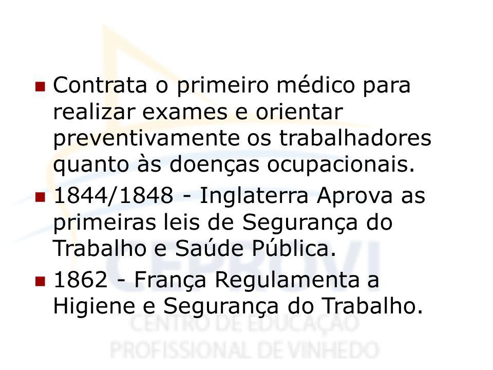 Contrata o primeiro médico para realizar exames e orientar preventivamente os trabalhadores quanto às doenças ocupacionais.