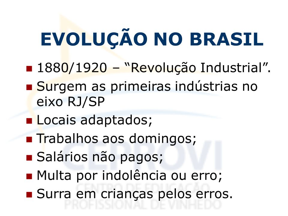 EVOLUÇÃO NO BRASIL 1880/1920 – Revolução Industrial .