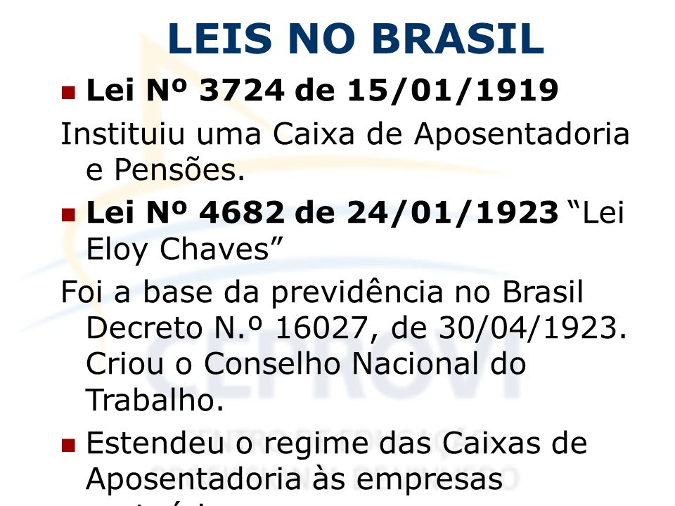 LEIS NO BRASIL Lei Nº 3724 de 15/01/1919