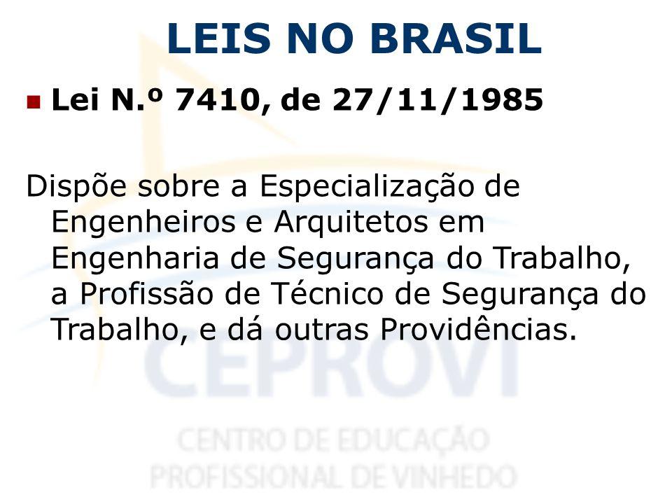 LEIS NO BRASIL Lei N.º 7410, de 27/11/1985