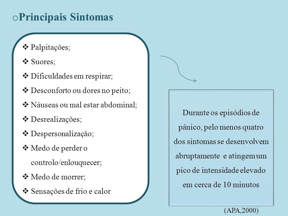 Principais Sintomas Palpitações; Suores; Dificuldades em respirar;