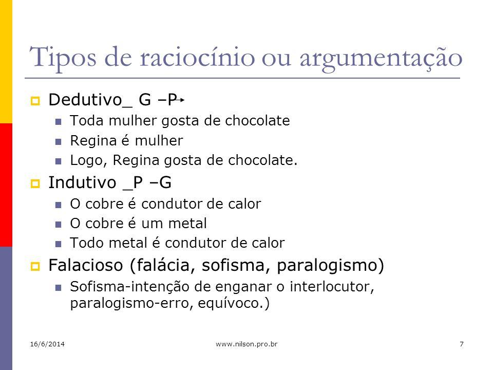 Tipos de raciocínio ou argumentação