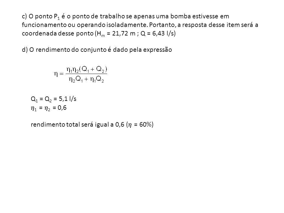 c) O ponto P1 é o ponto de trabalho se apenas uma bomba estivesse em funcionamento ou operando isoladamente. Portanto, a resposta desse item será a coordenada desse ponto (Hm = 21,72 m ; Q = 6,43 l/s)
