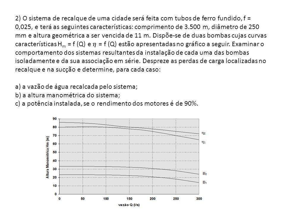 2) O sistema de recalque de uma cidade será feita com tubos de ferro fundido, f = 0,025, e terá as seguintes características: comprimento de 3.500 m, diâmetro de 250 mm e altura geométrica a ser vencida de 11 m. Dispõe-se de duas bombas cujas curvas características Hm = f (Q) e  = f (Q) estão apresentadas no gráfico a seguir. Examinar o comportamento dos sistemas resultantes da instalação de cada uma das bombas isoladamente e da sua associação em série. Despreze as perdas de carga localizadas no recalque e na sucção e determine, para cada caso: