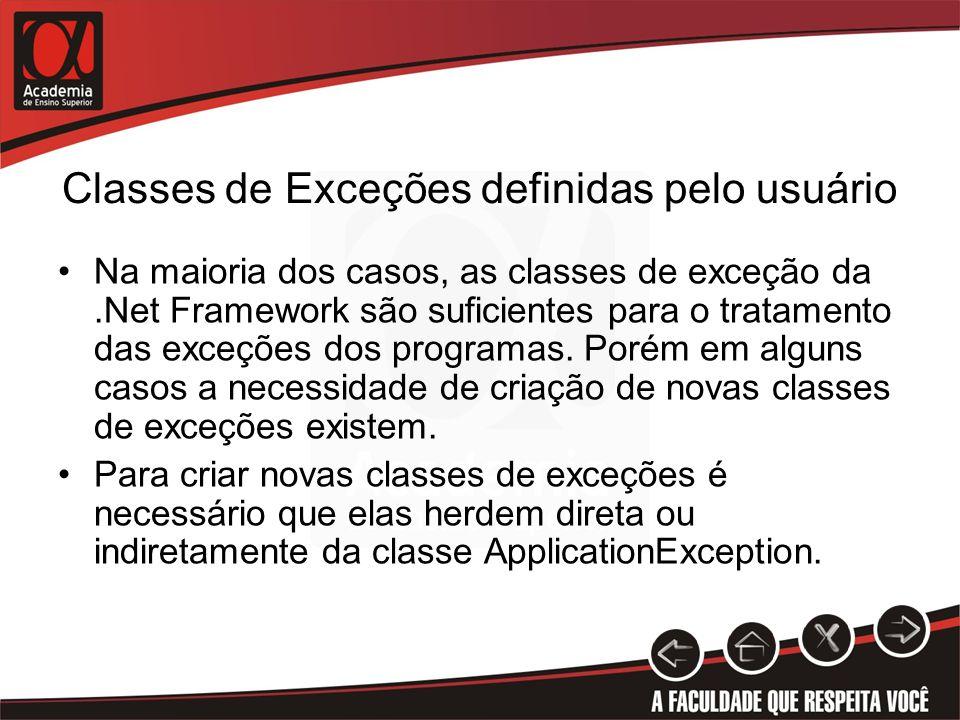 Classes de Exceções definidas pelo usuário