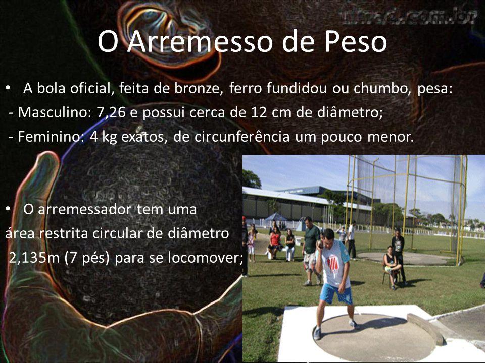 O Arremesso de Peso A bola oficial, feita de bronze, ferro fundidou ou chumbo, pesa: - Masculino: 7,26 e possui cerca de 12 cm de diâmetro;
