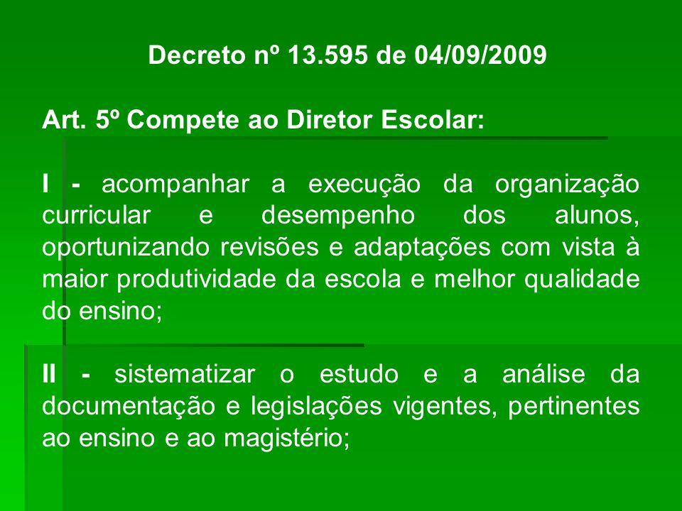 Decreto nº 13.595 de 04/09/2009 Art. 5º Compete ao Diretor Escolar: