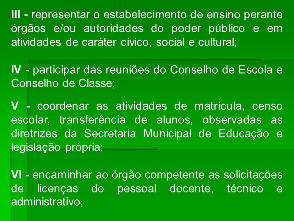 III - representar o estabelecimento de ensino perante órgãos e/ou autoridades do poder público e em atividades de caráter cívico, social e cultural;