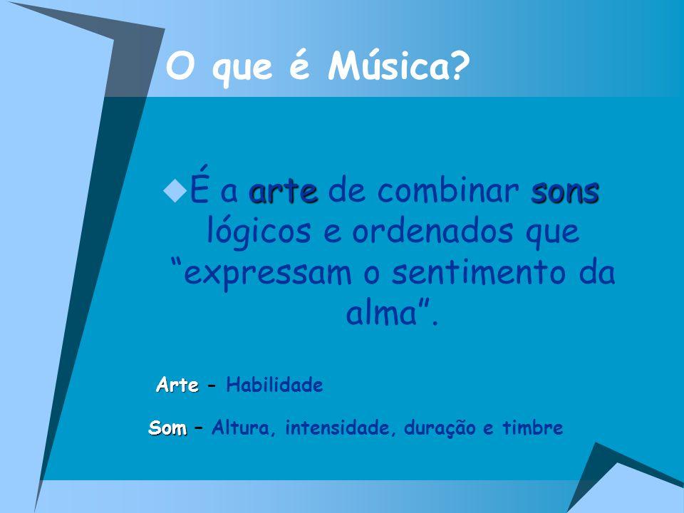 O que é Música É a arte de combinar sons lógicos e ordenados que expressam o sentimento da alma .