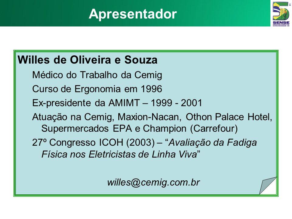 Apresentador Willes de Oliveira e Souza Médico do Trabalho da Cemig
