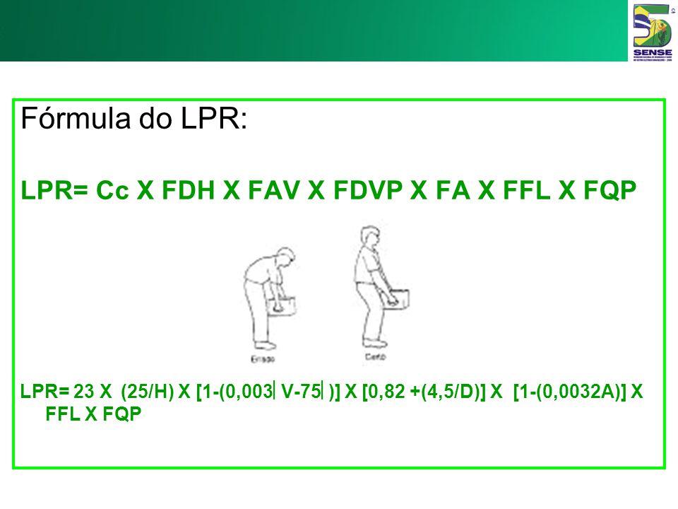 Fórmula do LPR: LPR= Cc X FDH X FAV X FDVP X FA X FFL X FQP