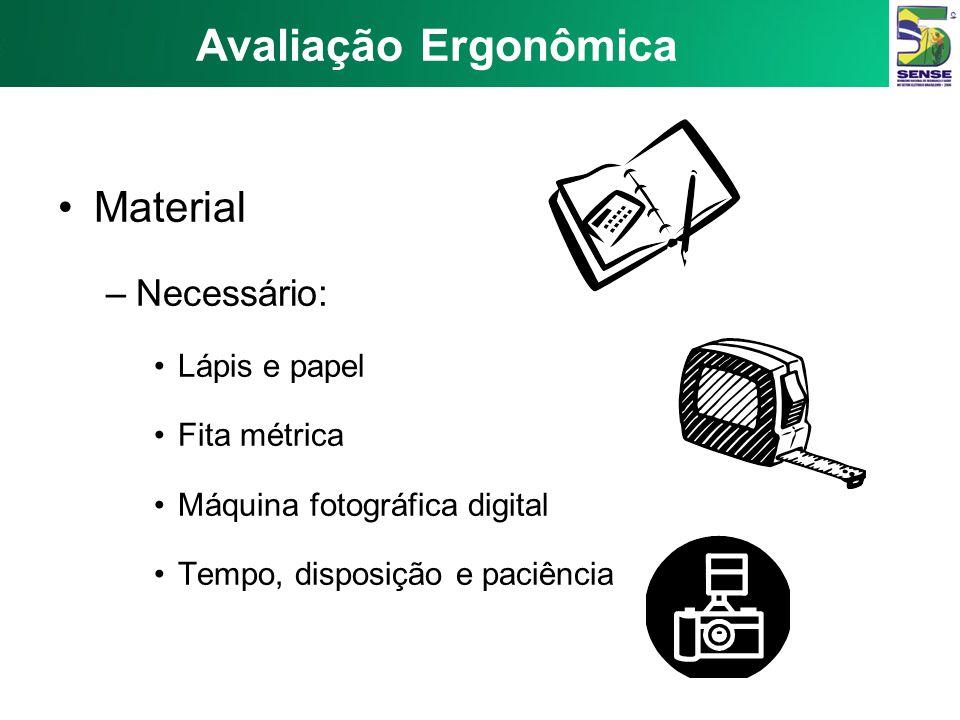 Avaliação Ergonômica Material Necessário: Lápis e papel Fita métrica