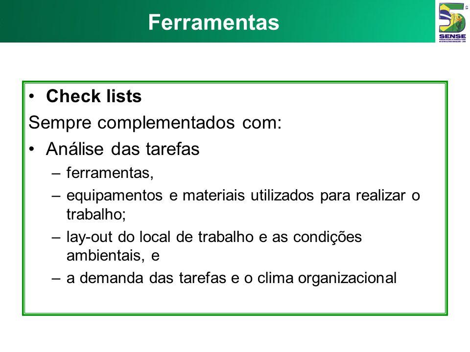 Ferramentas Check lists Sempre complementados com: Análise das tarefas