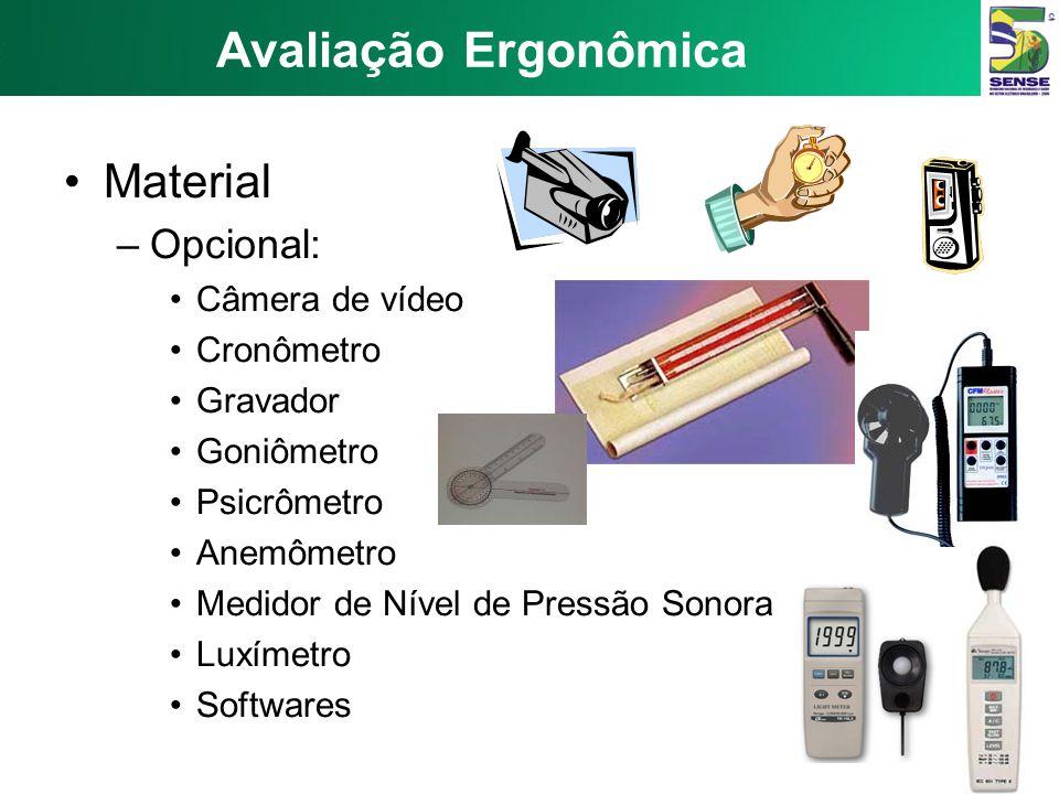 Avaliação Ergonômica Material Opcional: Câmera de vídeo Cronômetro