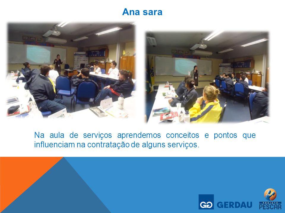 Ana sara Na aula de serviços aprendemos conceitos e pontos que influenciam na contratação de alguns serviços.