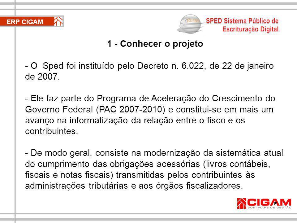 O Sped foi instituído pelo Decreto n. 6.022, de 22 de janeiro de 2007.