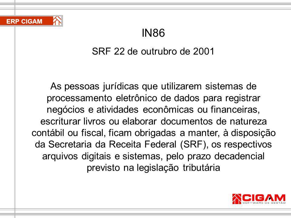 ERP CIGAM IN86. SRF 22 de outrubro de 2001.