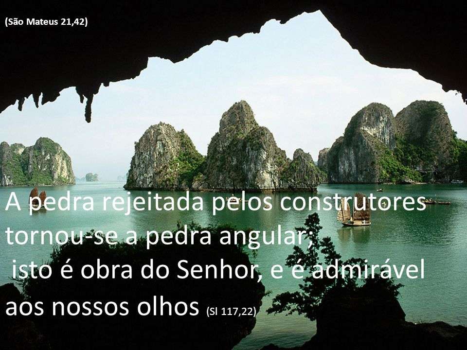 (São Mateus 21,42) A pedra rejeitada pelos construtores tornou-se a pedra angular; isto é obra do Senhor, e é admirável aos nossos olhos (Sl 117,22)