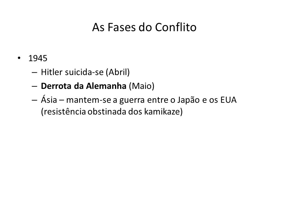 As Fases do Conflito 1945 Hitler suicida-se (Abril)