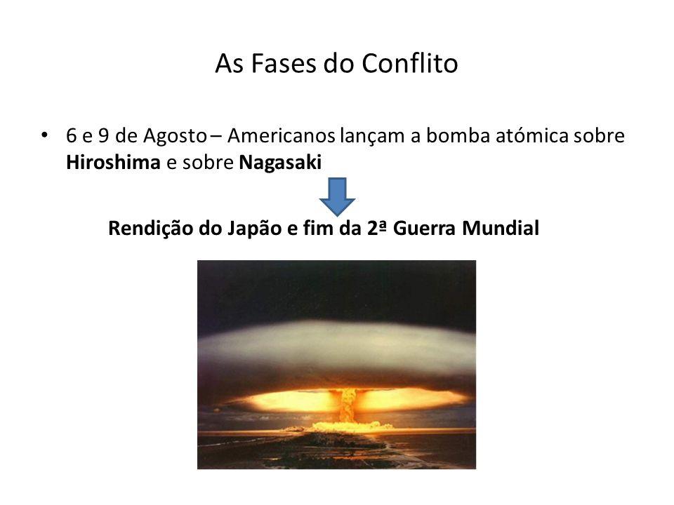 As Fases do Conflito 6 e 9 de Agosto – Americanos lançam a bomba atómica sobre Hiroshima e sobre Nagasaki.