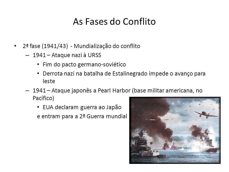 As Fases do Conflito 2ª fase (1941/43) - Mundialização do conflito