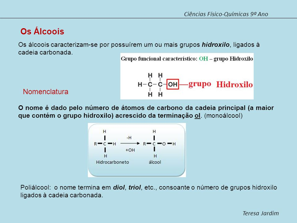 Os Álcoois Nomenclatura Ciências Físico-Químicas 9º Ano