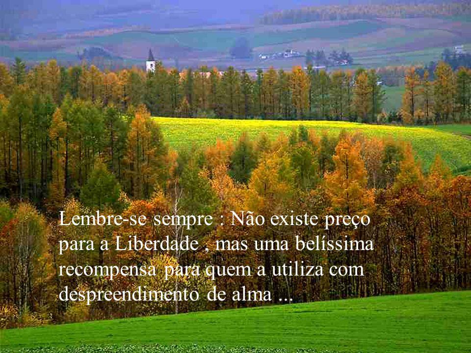 Lembre-se sempre : Não existe preço para a Liberdade , mas uma belíssima recompensa para quem a utiliza com despreendimento de alma ...