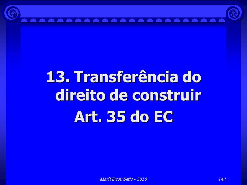 13. Transferência do direito de construir